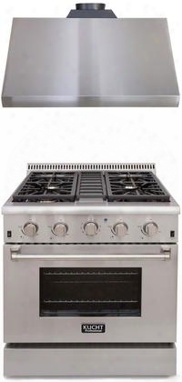 "Professional Series 2-piece Stainless Steel Kitchen Package With Krg3080u 30"" Natural Gas Range And Krh3005u 30"" Canopy Pro Style"