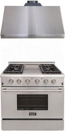 "Professional Series 2-piece Stainless Steel Kitchen Package With Krg3609u 36"" Natural Gas Range (4 Burner And Griddle) And Krh3605u 36"" Canopy Pro Range"