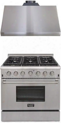 "Professional Series 2-piece Stainless Steel Kitchen Package With Krg3618u 36"" Natural Gas Range And Krh3605u 36"" Canopy Pro Range"