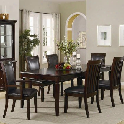Ramona Collection 101631setb 7 Pc Dining Room Set With Table + 4 Side Chairs + 2 Arm Chairs In Rich Brown