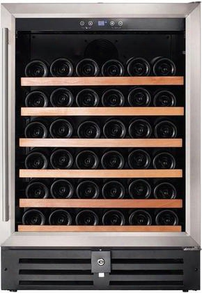 "Re100001 24"" Single Zone Wine Refrigerator With 46 Bottle Capacity Wood Accented Shelves Digital Thermostat And Uv Protected Double Pane Glass Door With"