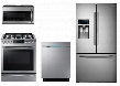 "4 Piece Kitchen Package With NX58H9500WS 30"" Slide-in Gas Range ME21H9900AS Over the Range Microwave Oven RF28HDEDBSR 36"" French Door Refrigerator and"