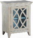 "Blanche 13290 33"" Cabinet with Removable Shelf Diamond Fretwork and Glass Door Fronts in"