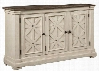 "Bolanburg D647-60 36"" Dining Room Server with Three Doors with Lattice Design Combination of Oak and Acacia Substrates Unique Two-tone Finish and Casual"