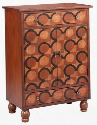 "Turner 13396 41"" Cabinet With Circular Design Motif One Fixed Shelf And Decorative Hardware In"