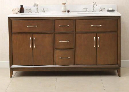 "Wlf7030-60 60"" Sink Vanity With Quartz Top 4 Soft Closing Doors And 6 Pre-drilled Faucet Holes In Antique"