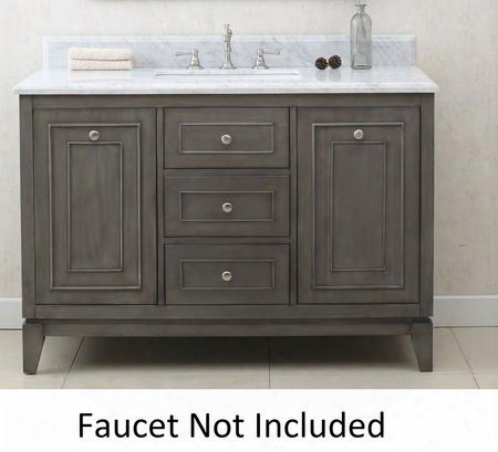 "Wlf7034-48 48"" Sink Vanity With Carrara Top 2 Soft Closing Doors And 3 Pre-drilled Faucet Holes In Silver"