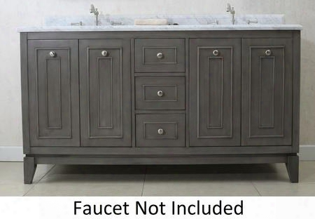 "Wlf7034-60 60"" Sink Vanity With Carrara Top 4 Soft Closing Doors And 6 Pre-drilled Faucet Holes In Silver"