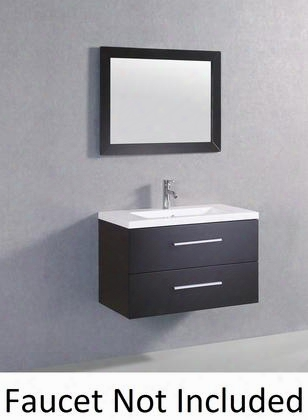 "Wt909b 40"" Sink Vanity And Mirror With Resin Top And 1 Pre-drill Faucet Hole In"