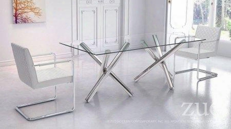 "100351 79"" Rectangular Clear Tempered Glass Top Dining Table Complete With 2 Dining"