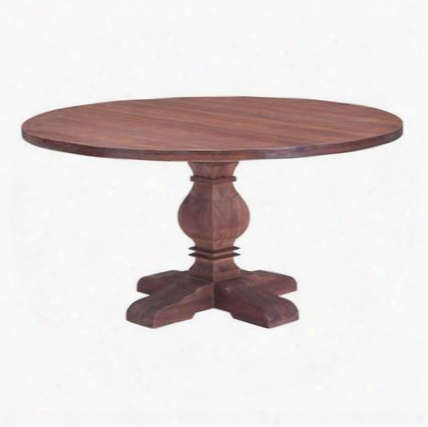 "100432 Hastings 60"" Dining Table With Classic Design Round Wood Top And Carved Wood Pedestal Base In Distressed Fir"