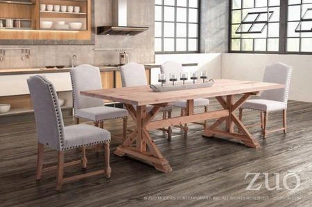 "100440 95"" X Style Wood Base Dining Table Complete With 5 Dining"