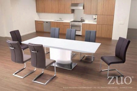 """107860 71"""" Stainless Steel Base Extension Table Complete With 6 Dining"""