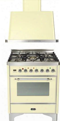 "2-piece Antique White Kitchen Package With Um76dvggax 30"" Freestanding Gas Range (chrome Trim 5 Burners Timer) And Uam76a 30"" Wall Mount Range"