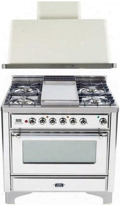 "2-piece True White Kitchen Package With Um90fdmpbx 36"" Freestanding Dual Fuel Range And Uam90b 36"" Wall Mount Range"