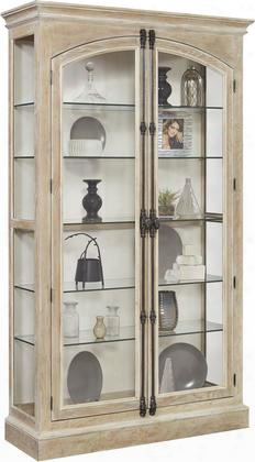 """21541 84"""" Hailey Cremone Door Curio With Five Shelves Two Led Lights Decorative Hardware Molding Detail And Decorative Hardware In"""