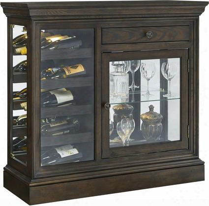 "21551 44"" Kelston Mirrored Wine Console With Two Glass Doors Two Led Lights With 3-way Touch Dimmer Switch Wine Rack Simple Pulls And Molding Detail In"