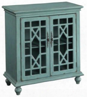 "50694 36"" Cabinet With 2 Glass Doors Ornate Metal Handles And Turned Legs In Bayberry Blue"