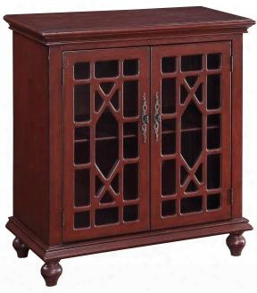 "50713 36"" Cabinet With 2 Glass Doors Ornate Metal Pulls And Turned Legs In Esnon Texture"