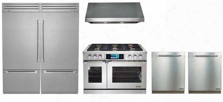 "6 Piece Kitchen Package With Dyrp48dslph 48"" Gas Range Rnhp4818s 30"" Wall Mount Hood Dyf36bftsl Dyf36bftsr 30"" Bottom Freezer Refrigerator Rdw24s 24"" Built"