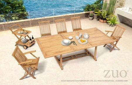 "703552 Regatta 71"" Extension Dining Table Complete With 5 Dining Chairs And A Trolley In A Natural"