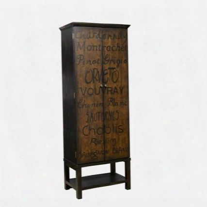 "806016 74"" Tall Hannd Painted Wine Cabinet Including Two Doors And Bottom Shelf With Simple Pulls And Distressed Detailing In"