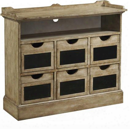 "806057 38"" Accent Chest With Chalkboard Drawer Fronts Distressed Detailing And A Hole Foe Wiring In"