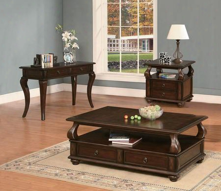 Amado 80010ces 3 Pc Living Room Table Set With Coffee Table + End Table + Sofa Table In Walnut