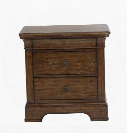 "American Attitude 8854050 30"" Nightstand With 3 Drawers Dust Bottoms Rounded Corners Mitered Frame Oak Veneers And Hardwood Solids Construction In Medium"