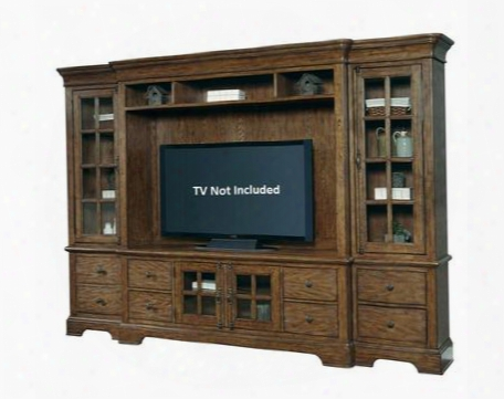 American Aattitude 8854167set 4 Pc Entertainment Center With Left Pier + Right Pier + Console + Console Deck In Medium Wood