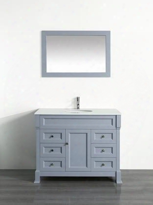 "Bosconi 43"" Sb-278grps Single Vanity With 1 Door 6 Drawers 1 Sink Included Wall Mounted Mirror Antique Bronze Hardware And Birch Solid Wood F Rame In Grey"