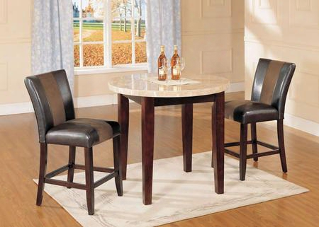 Britney 17218t2c 3 Pc Bar Flat Set With Counter Height Table + 2 Counter Height Chirs In Walnut
