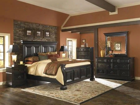 Brookfield 99318017ckset 6 Pc Bedroom Set With California King Size Panel Bed + Dresser + Mirror + Chest + 2 Nightstands In Black
