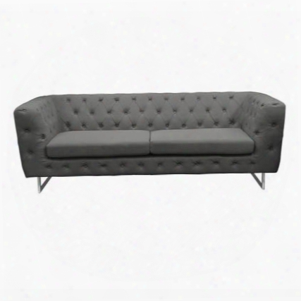 "Catalina Catalinaso 86"" Sofa With Button Tufting Chrome Metal Leg And Stitching Details In"