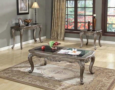 Chantelle 80540ces 3 Pc Living Room Table Set With Coffee Table + End Table + Sofa Table In Antique Platinum