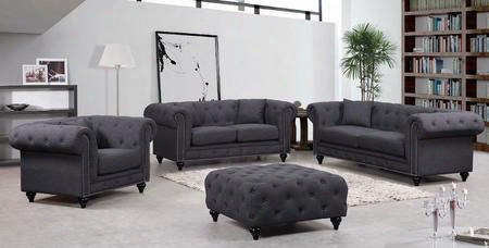 Chesterfield 662gry-s-l-c-o 4 Piece Living Room Set With Sofa + Loveseat + Chair And Ottoman In