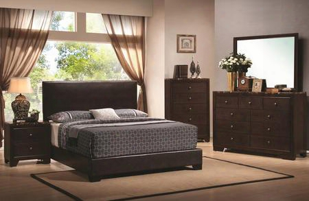 Conner 300261qset 5 Pc Bedroom Set With Queen Size Platform Bed + Dresser + Mirror + Chest + Nightstand In Cappuccino