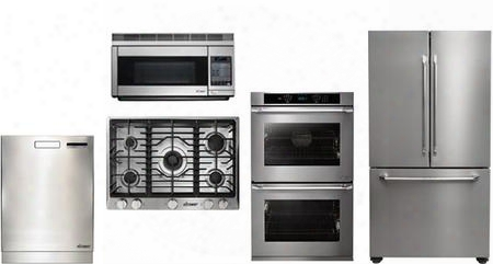 "Dacor 5 Piece Stainless Steel Kitchen Package With Rnct305gslph 30"" Gas Cooktop Pcor30s 30"" Countertop Microwave Dtf36fcs 36"" French Door Refrigerator"