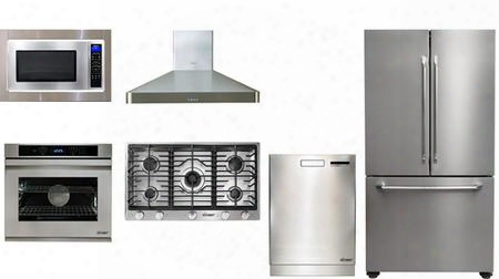 """Dacor 6 Piece Kitchen Package With Rnct365gsngh 36"""" Gas Cooktop Dto130s208v 30"""" Electric Wall Oven Dtf36fcs 36"""" French Door Refrigerator Dhw361 Range Hood"""