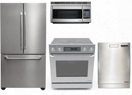 "Dacor Distinctive Series 4-piece Stainless Steel Kitchen Package With Dr30eis 30""slide-in Electric Range Dtf36fcs 36"" French Door Fridge Pcor30s 30"