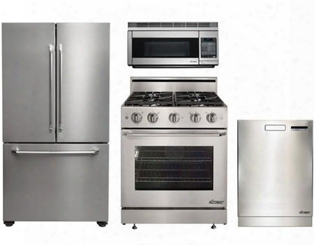"Dacor Distinctive Series 4-piece Stainless Steel Kitchen Package With Dr30gsng 30"" Gas Freestanding Range Dtf36fcs 36"" French Door Fridge Pcor30s 30"