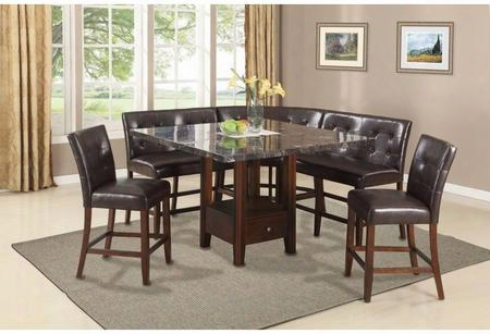 Danville Collection 01280t5c 6 Pc Bar Table Set With Counter Height Table + 2 Chairs + 2 Love Chairs + Corner Chair In Walnut