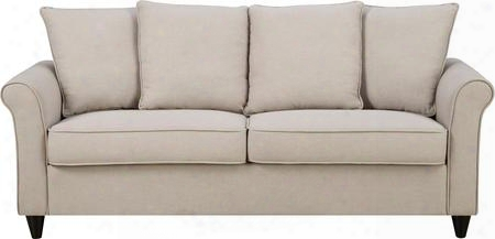 """Ds-2636-680-287 80"""" Fabric Upholstered Roll Arm Sofa With Scatter Back Pillows Piped Stitching And Tapered Legs In"""