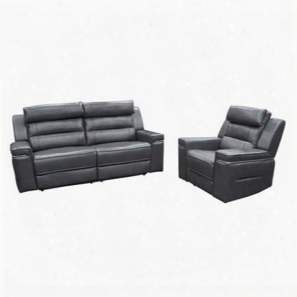 Duncan Duncanrscgr Dual-reclining Sofa & Reclining Chair 2pc Set With Waterfall Back Headrest Support And Slate Grey