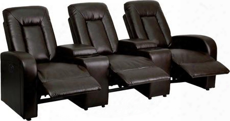 "Eclipse Bt-70259-3-p-brn-gg Row Of 3 43"" Leather Theater Seating With Leathersoft Upholstery Okin Motor And Storage Console In"