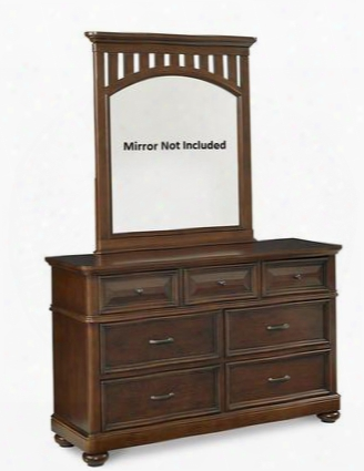 "Expedition 8468410 56"" Dresser With 7 Drawers Nickel Finished Hardware English Dovetail Joinery Selected Veneers And Hardwood Solids Construction In Cherry"