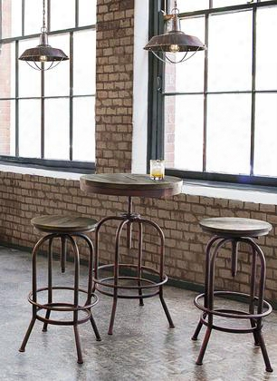 Fairfax Fairfaxbt3pc Bistro Table & 2-pack Stools 3pc Set With Adjustable Height Weathered Brown Top And Rust Black Iron