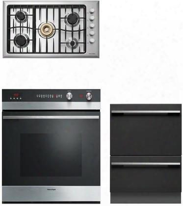 "Fisher Paykel 3 Piece Kitchen Package 30"" Total Capacity Electric Single Wall Oven With 36"" Gas Sealed Burner Style Cooktop Cg365dwlpacx2 And 24"