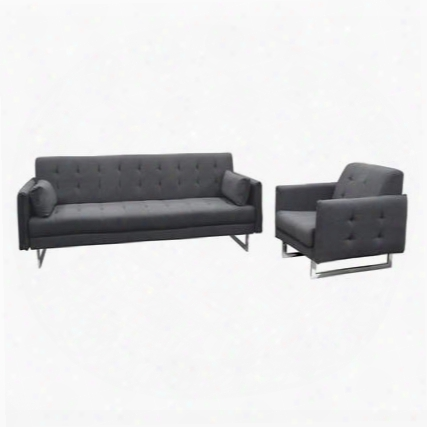 Hampton Hamptonscgp Convertible Sofa & Chair 2pc Set With Tufted Seat And Back Metal Leg And Two Accent Pillows In