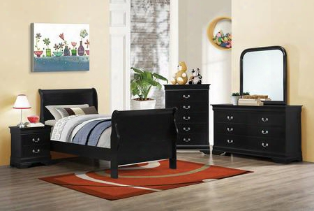 Louis Phili Ppe 203961tset 5 Pc Bedroom Set With Twin Size Sleigh Bed + Dresser + Mirror + Chest + Nightstand In Black